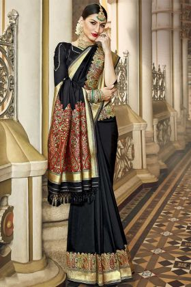 Silk Festival Saree Jacquard Work In Black Color