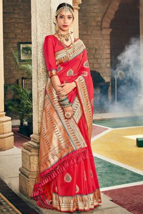 Silk Festival Saree Weaving Work In Red Color