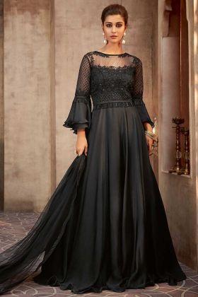 Silk Georgette Black Color Designer Wedding Gown