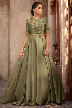 Silk Georgette Olive Green Designer Party Wear Gown