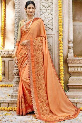 Silk Georgette Orange Wedding Saree With Golden Blouse