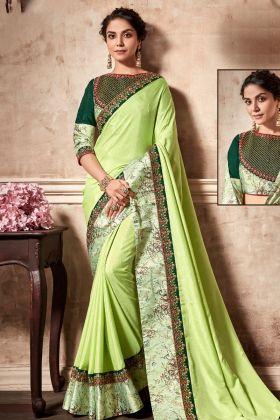 Silk Georgette Pastel Green Saree