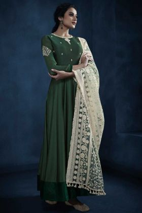 Silk Georgette Reception Salwar Suit Semi Stitched Green Color