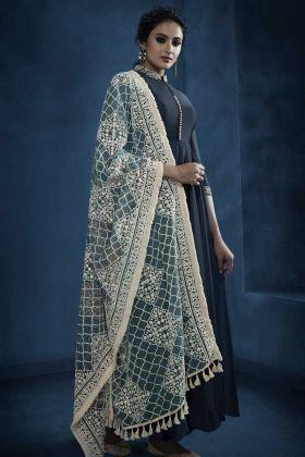 Silk Georgette Wedding Salwar Suit With Embroidered Work Dark Grey