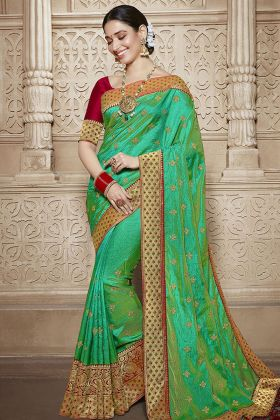 Silk Green Traditional Saree Online