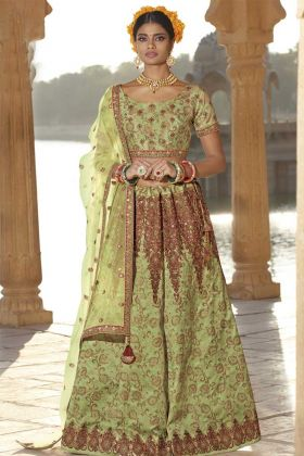 Silk Green Bridal Lehenga Choli
