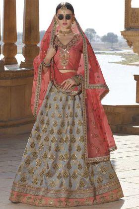 Silk Grey Wedding Lehenga Choli Online