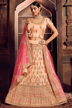 Silk Heavy Designer Embroidered Lehenga Choli Peach Color