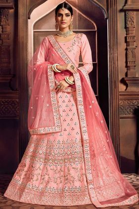 Silk Heavy Designer Embroidered Lehenga Choli Pink Color