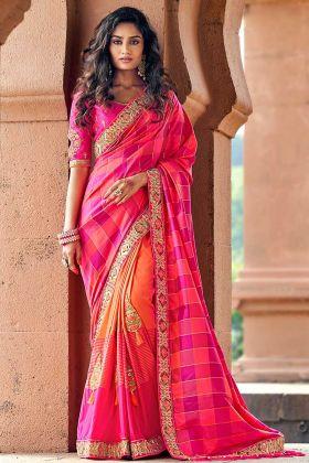 Silk Jacquard Embroidered Border Pink Designer Banarasi Saree