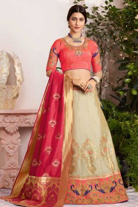 Silk Jacquard Embroidery Work Wedding Lehenga Choli In Beige Color