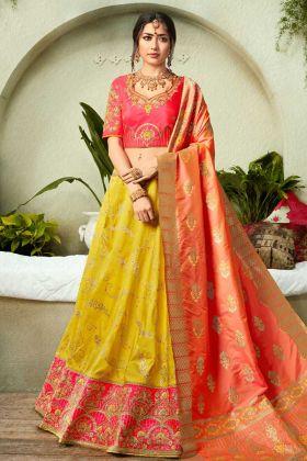 Silk Jacquard Indian Designer Lehenga Choli Embroidery Work In Yellow Color