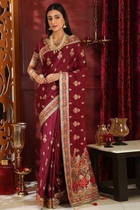 Diwali Special Maroon Silk Saree Collection
