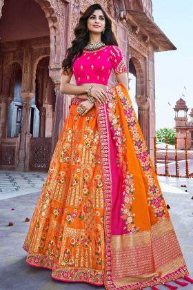 Silk Lehenga Choli Orange Color With Stone Work