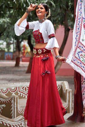 Silk Maroon Lehenga Choli Online