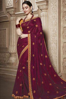 Silk Maroon Wedding Saree