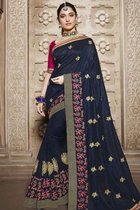 Silk Navy Blue Wedding Saree