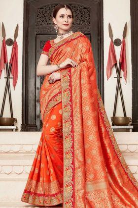 Silk Orange Wedding Saree Online