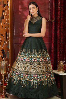 Silk Party Wear Gown Dark Green Color