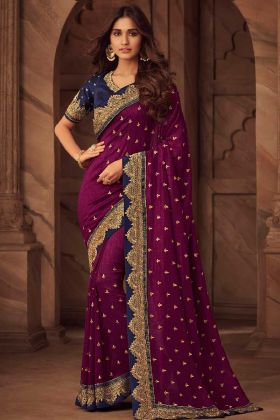 Silk Party Wear Saree In Purple Color