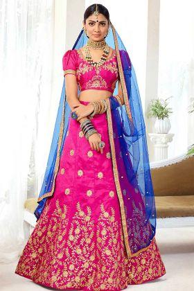 Silk Reception Lehenga Choli Heavy Zari Embroidery Work In Pink Color