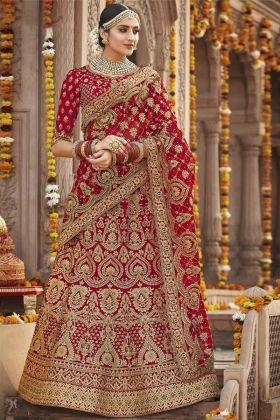 Silk Red Bridal Lehenga Choli Online