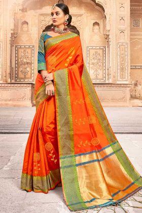 Silk Saree Jacquard Work In Orange Color