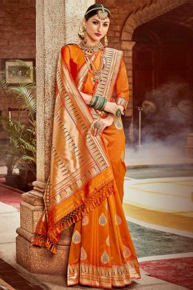 Silk Traditional Saree Jacquard Work In Orange Color