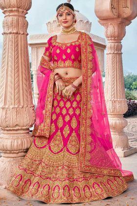 Silk Wedding Bridal Lehenga Choli Stone Work In Pink Color