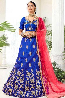 Silk Wedding Lehenga Choli Heavy Zari Embroidery Work In Blue Color
