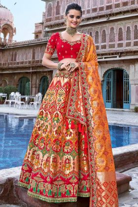 Silk Wedding Lehenga Choli Multi Color With Stone Work