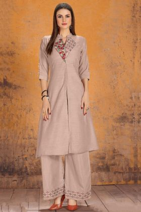 Silk Wedding Palazzo Kurti Set Embroidery Work In Mauve Color