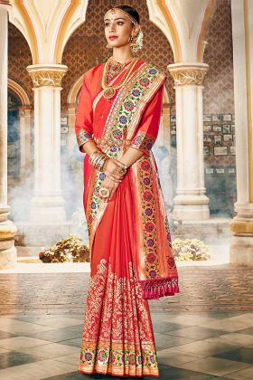 Silk Wedding Saree Weaving Work In Red and Orange Color