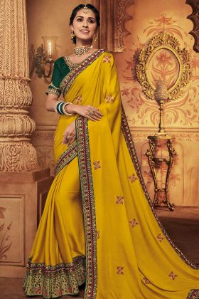 Silk Wedding Saree Yellow Color With Embroidery Work