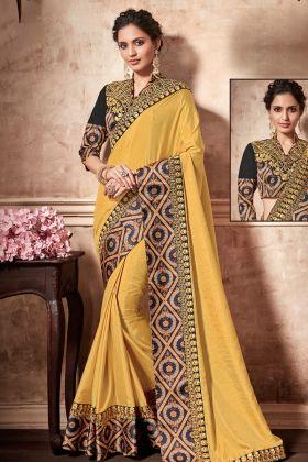 Silk Yellow With Raw Silk Blouse