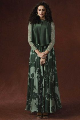 Silky Georgette Party Wear Gown Pearl Work In Green Color