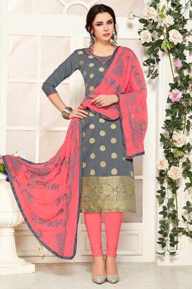 Simple Suit Design In Banarasi Silk Grey Color