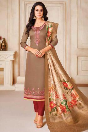 Simple Suit Design In Jam Satin Cotton Beige Color