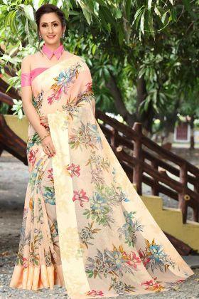 Simple Designer Saree Linen Cotton Fabric Peach Color