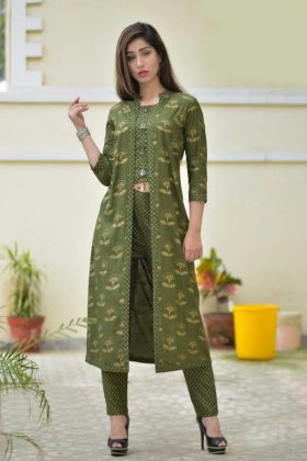 Simple Elegant Rayon Embroidery Jacket Style Green Kurti For GIrls