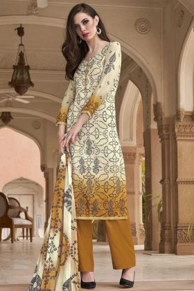 Simple Printed Cotton Suit In Off-White And Mustard Color