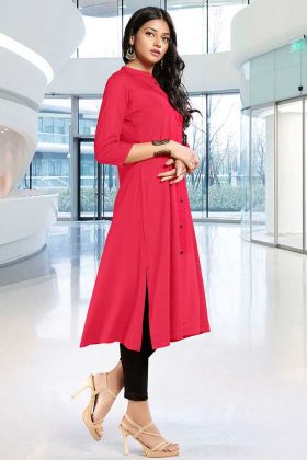 Simple Readymade Kurti Dark Pink Color Rayon Fabric