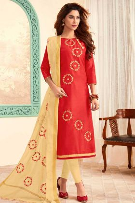 Simple Work Slub Cotton Churidar Dress Material Red Color
