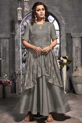 Single Piece Anarkali Dress Readymade Satin Silk Grey Color