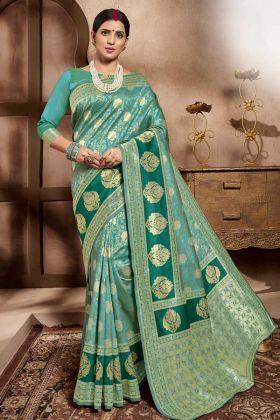 Sky Blue Color Designer Cotton Silk Saree Collection