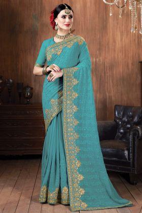 Sky Blue Color Georgette Most Demanding Saree Online