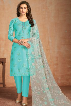 Sky Blue Color Glaze Cotton Churidar Salwar Suit