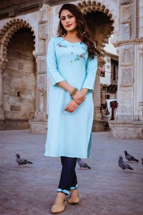 Sky Blue Color Kurti With Green Color Bottom