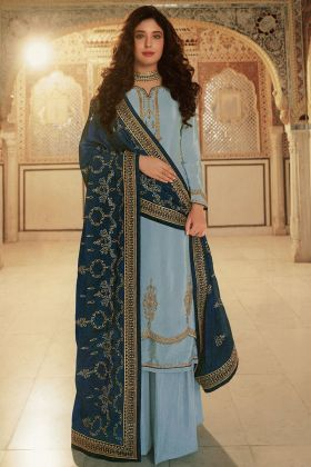 Sky Blue Color Most Trendy Wedding Rangoli Georgette Palazzo Suit