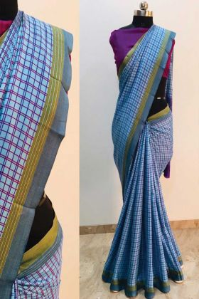 Sky Blue Color Printed Malgudi Silk Saree At Best Price